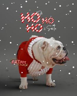 Saco o sweater de papá noel para perros, santa ropa para perro de navidad bulldog santa