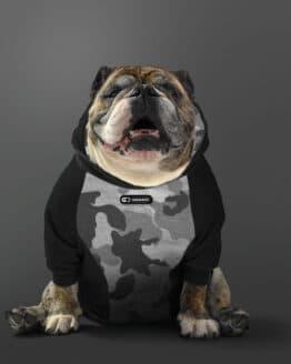 ropa para perro Buzo Saco hoodie buzo para perros saco hoodie negro combinado para perros bulldogs perros gordos