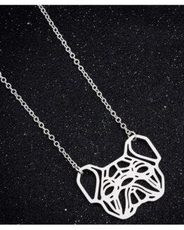 collar para mujer Collar bulldog francés geométrico color plata sobre terciopelo