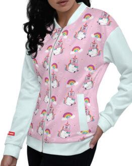 chaqueta mujer bomber rosada con azul bulldog mama dog lover