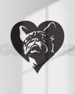 bulldog frances en corazón decoración