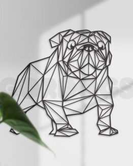 Siluetas decoración bulldog ingles geometrico silueta decorativa MDF gordogs bulldog