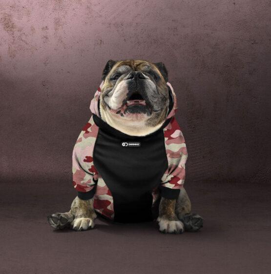 Ropa para perros Gordogs bulldogs y sus amigos hoode o saco camuflado militar colores navy y rose